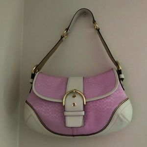 Coach Pink and White Hobo Handbag H04J-1456 *62S*